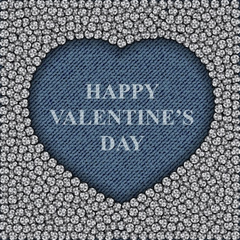 Blue jeans heart with diamonds and happy valentines day lettering