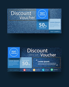 Blue jeans texture background with discount voucher layout template design