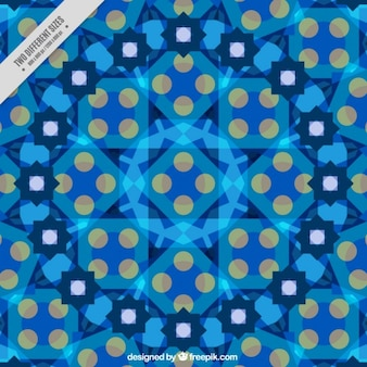 Blue kaledoscope background with geometric figures