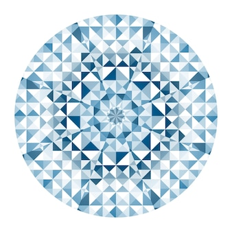 블루 만화경 라운드 기하학적 패턴 흰색 배경에 고립