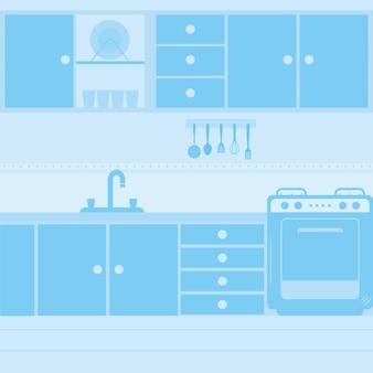 Синяя кухня с плитой