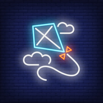 Blue kite flying in clouds neon sign