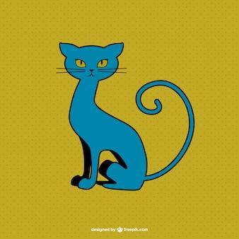 Синий котенок векторной графики