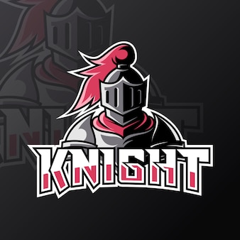 Blue knight sport esport logo design template with armor and helmet