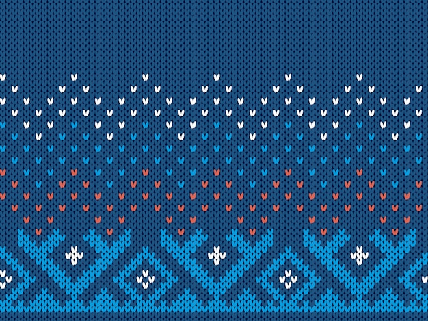 Blue knit print. christmas seamless pattern. sweater ornament . xmas texture. fair isle background.