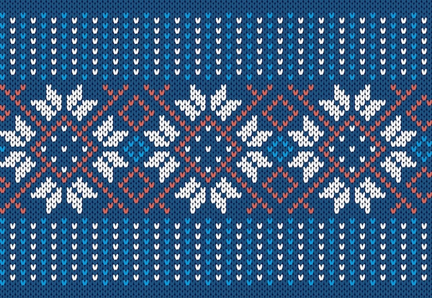 Blue knit seamless print. christmas pattern. festive knitted sweater texture.