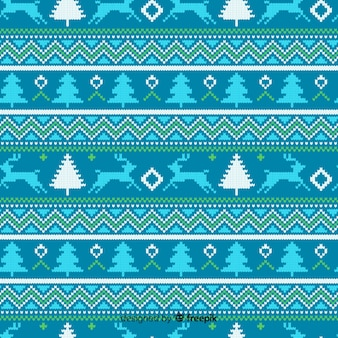 Blue knitted christmas pattern