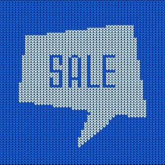 Синий вязаный пузырь речи о распродаже