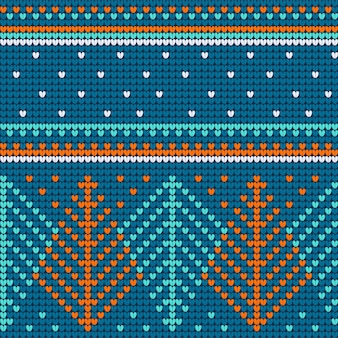 Blue knitted seamless pattern