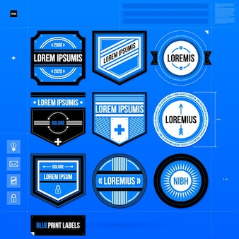 Blue label template collection