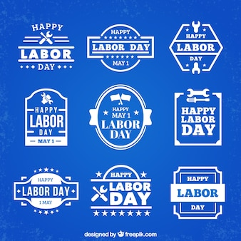Blue labor day label set