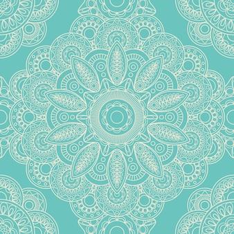 Blue lace boho doodle seamless pattern