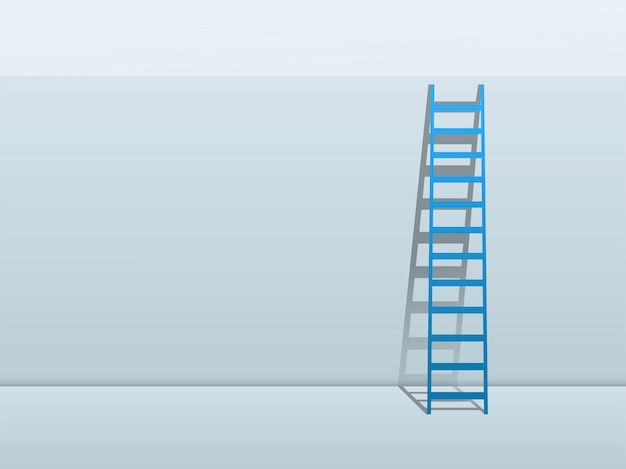 Blue ladder leaning against wall background