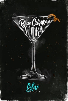 Blue lagoon cocktail lettering lemonade, blue curacao, vodka in vintage graphic style drawing with chalk and color on chalkboard background