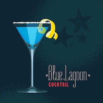 Blue lagoon cocktail in martini glass illustration