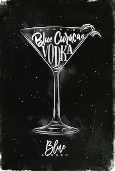 Blue lagoon cocktail with lettering on chalkboard style