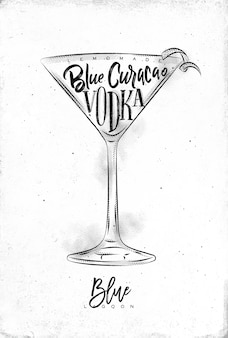 Blue lagoon cocktail with lettering