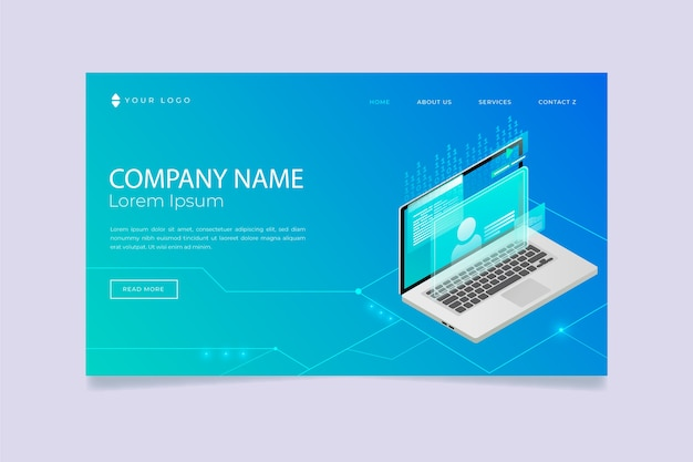 Blue landing page with laptop