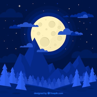 フラットなデザインで、月の青い風景の背景
