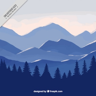 Blue landscape background with mountains and pines