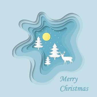 青い風景のメリークリスマスと幸せな新年の紙カットイラストと雪
