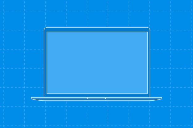 Blue laptop, blank screen digital device vector illustration