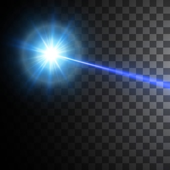 黒の背景に分離された青色レーザービーム