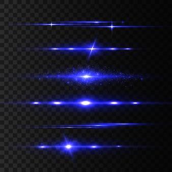 青色レーザービーム、光フレア。