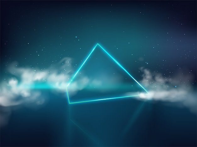 Blue laser pyramid or prism on reflective surface and starry background with smoke or fog