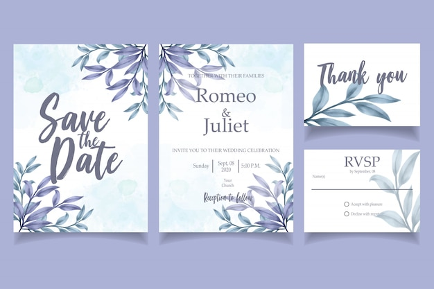 Blue leaf watercolor invitation wedding party card floral template