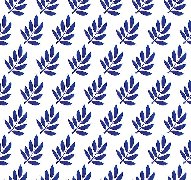 白い背景に青い葉のパターン