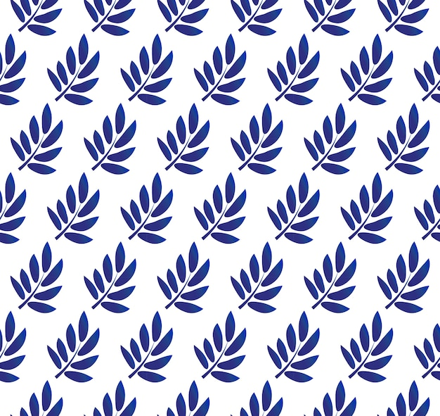 Blue leaves pattern on white background