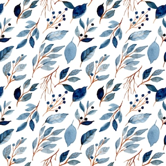 Blue leaves watercolor seamless pattern