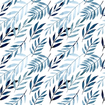 Blue leaves with watercolor seamless pattern