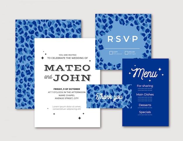 青いヒョウの現代的な結婚式の文房具