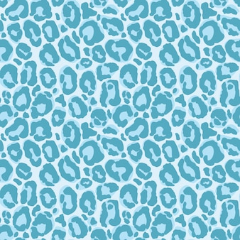 Blue leopard seamless pattern