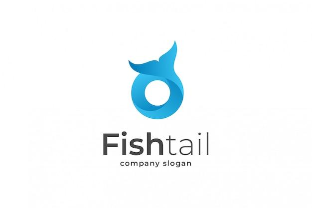 青い文字oフィッシュテールのロゴのテンプレート