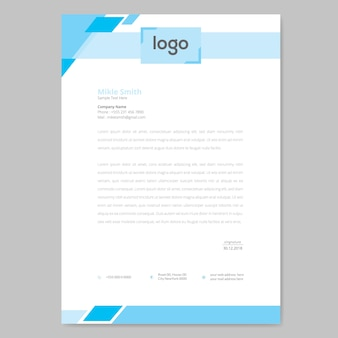 Blue letterhead design