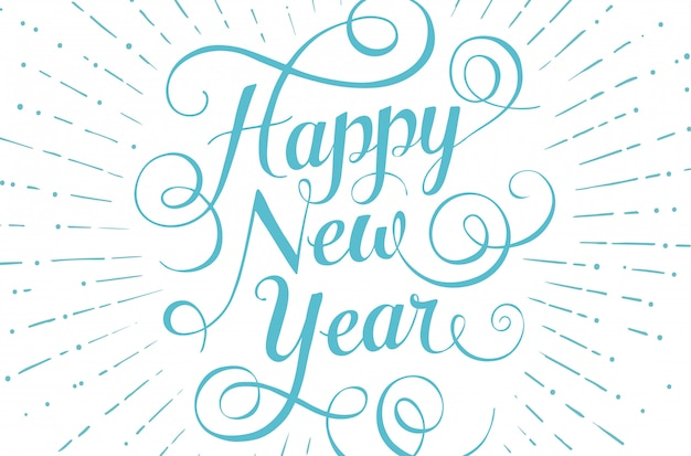 Blue lettering happy new year for greeting card