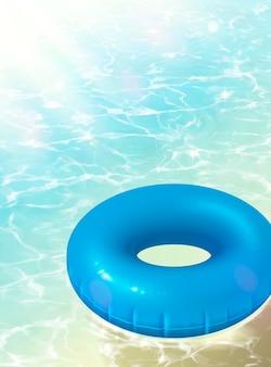 3dイラストで澄んだ海に浮かぶ青い救命浮き輪