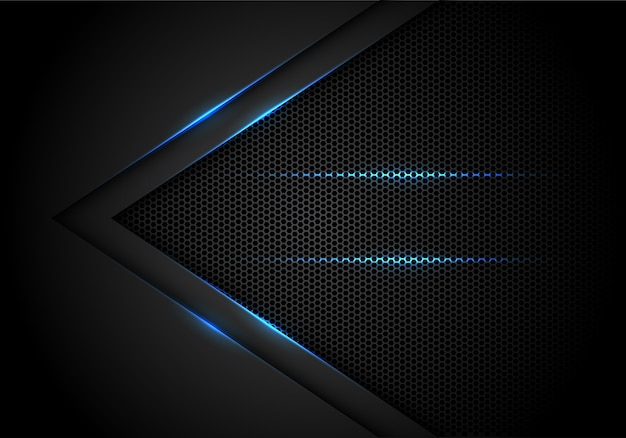 Blue light arrow on black with hexagon mesh background.