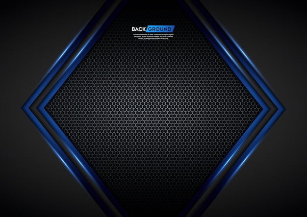 Blue light arrow black with hexagon mesh background