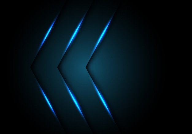 Blue light arrow direction black blank space background.