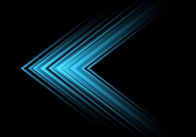 Blue light arrow speed direction on black background .