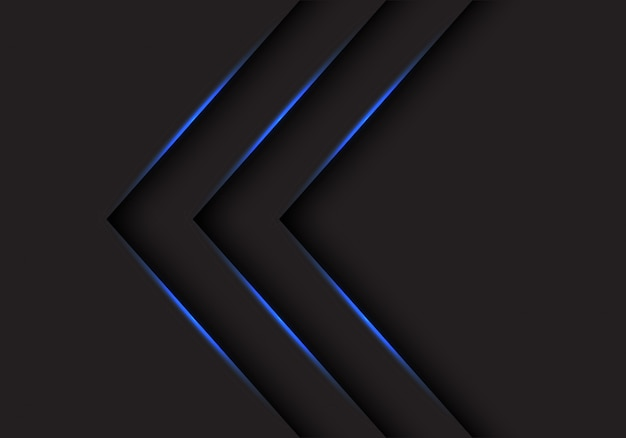 Blue light arrows direction on black background.