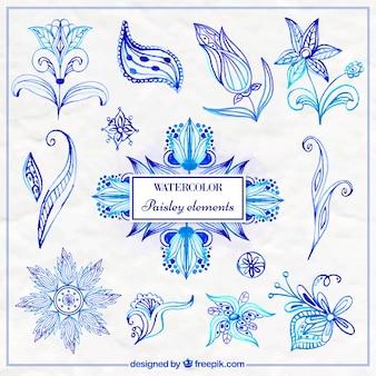 Elementi paisley blu acquerello azzurro e