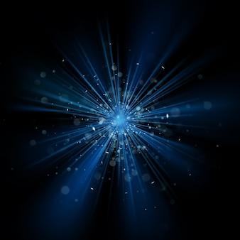 블랙에 블루 라이트 버스트 반짝이 배경 효과. 별 먼지 폭발. 또한 포함