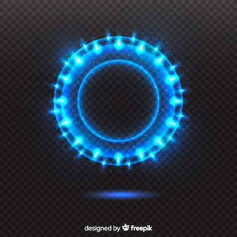 Blue light circle on transparent background
