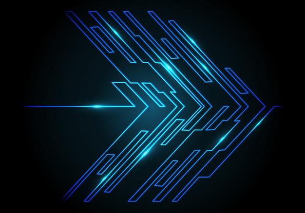 Blue light circuit arrow on black technology background.