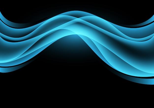 Blue light curve wave on black luxury background.